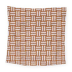 WOVEN1 WHITE MARBLE & RUSTED METAL Square Tapestry (Large)