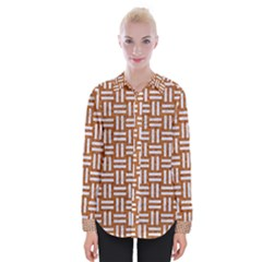 WOVEN1 WHITE MARBLE & RUSTED METAL Womens Long Sleeve Shirt