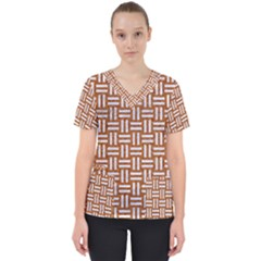 WOVEN1 WHITE MARBLE & RUSTED METAL Scrub Top