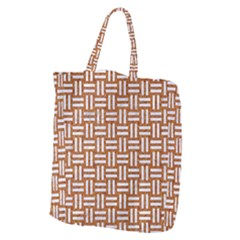 WOVEN1 WHITE MARBLE & RUSTED METAL Giant Grocery Zipper Tote