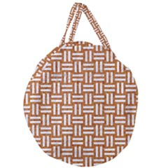 WOVEN1 WHITE MARBLE & RUSTED METAL Giant Round Zipper Tote