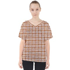 WOVEN1 WHITE MARBLE & RUSTED METAL V-Neck Dolman Drape Top