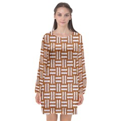 WOVEN1 WHITE MARBLE & RUSTED METAL Long Sleeve Chiffon Shift Dress