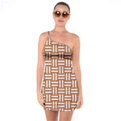 WOVEN1 WHITE MARBLE & RUSTED METAL One Soulder Bodycon Dress