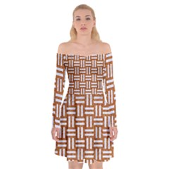 WOVEN1 WHITE MARBLE & RUSTED METAL Off Shoulder Skater Dress