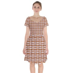 WOVEN1 WHITE MARBLE & RUSTED METAL Short Sleeve Bardot Dress