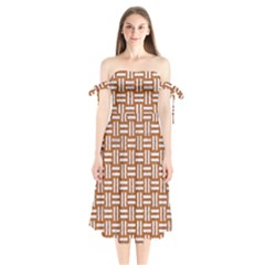 WOVEN1 WHITE MARBLE & RUSTED METAL Shoulder Tie Bardot Midi Dress