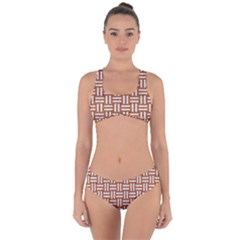 WOVEN1 WHITE MARBLE & RUSTED METAL Criss Cross Bikini Set