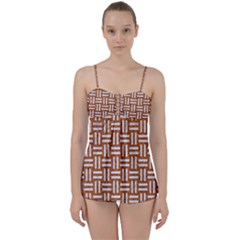 WOVEN1 WHITE MARBLE & RUSTED METAL Babydoll Tankini Set