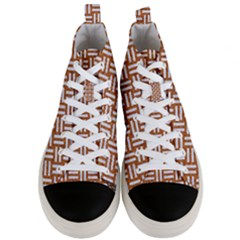 Woven1 White Marble & Rusted Metal Men s Mid Top Canvas Sneakers