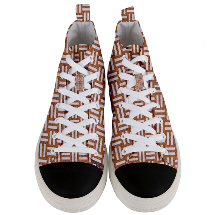 WOVEN1 WHITE MARBLE & RUSTED METAL Men s Mid-Top Canvas Sneakers