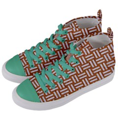 WOVEN1 WHITE MARBLE & RUSTED METAL Women s Mid-Top Canvas Sneakers