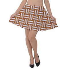 WOVEN1 WHITE MARBLE & RUSTED METAL Velvet Skater Skirt