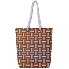 WOVEN1 WHITE MARBLE & RUSTED METAL Full Print Rope Handle Tote (Small)