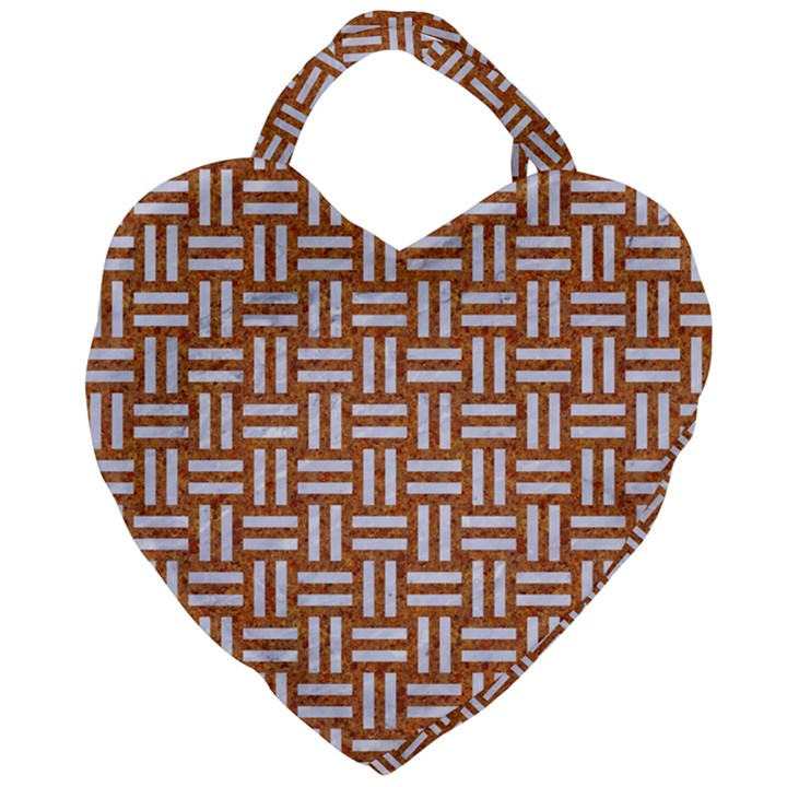 WOVEN1 WHITE MARBLE & RUSTED METAL Giant Heart Shaped Tote