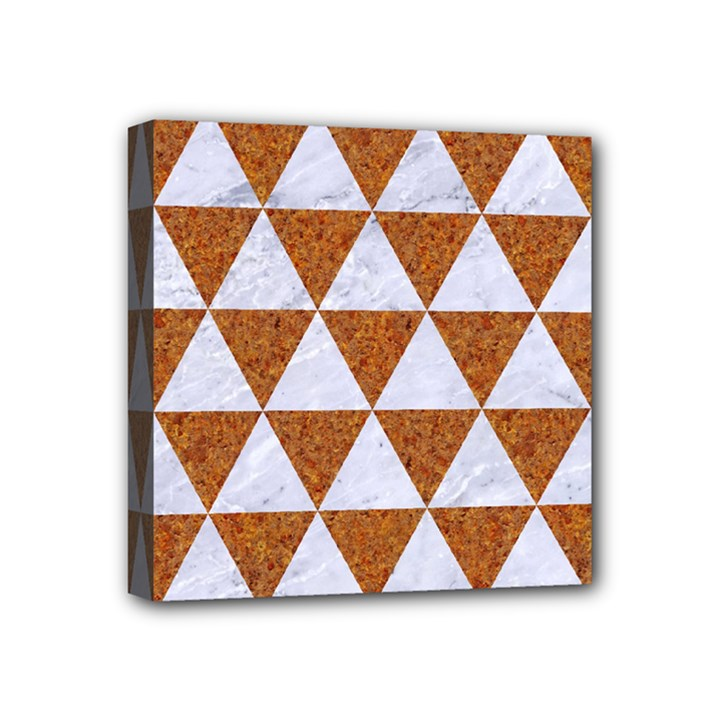 TRIANGLE3 WHITE MARBLE & RUSTED METAL Mini Canvas 4  x 4