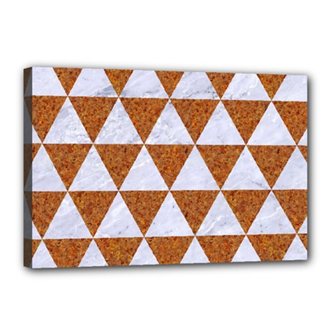 Triangle3 White Marble & Rusted Metal Canvas 18  X 12  by trendistuff