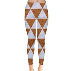 Triangle3 White Marble & Rusted Metal Leggings  by trendistuff