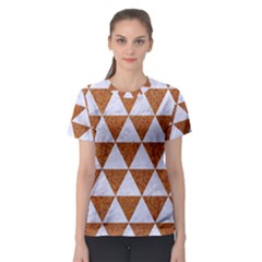Triangle3 White Marble & Rusted Metal Women s Sport Mesh Tee by trendistuff