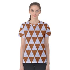 Triangle3 White Marble & Rusted Metal Women s Cotton Tee