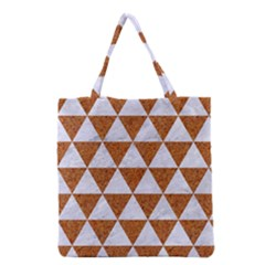 Triangle3 White Marble & Rusted Metal Grocery Tote Bag by trendistuff