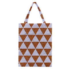 Triangle3 White Marble & Rusted Metal Classic Tote Bag by trendistuff