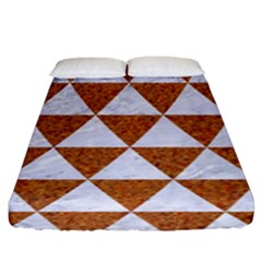 Triangle3 White Marble & Rusted Metal Fitted Sheet (king Size) by trendistuff