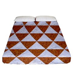 Triangle3 White Marble & Rusted Metal Fitted Sheet (california King Size) by trendistuff