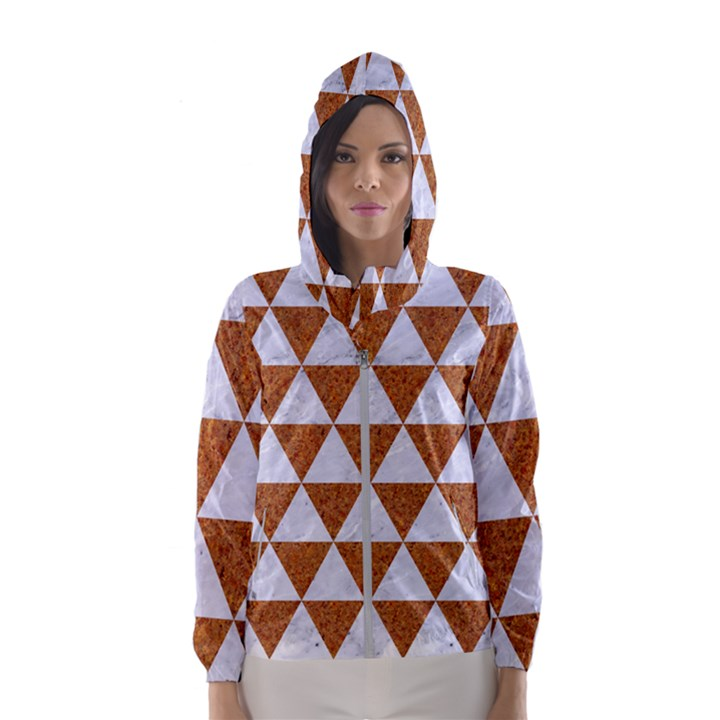 TRIANGLE3 WHITE MARBLE & RUSTED METAL Hooded Wind Breaker (Women)