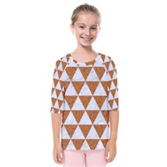 Triangle3 White Marble & Rusted Metal Kids  Quarter Sleeve Raglan Tee by trendistuff