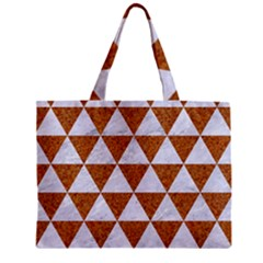 Triangle3 White Marble & Rusted Metal Zipper Mini Tote Bag by trendistuff