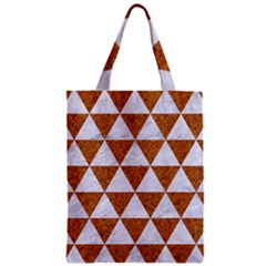 Triangle3 White Marble & Rusted Metal Zipper Classic Tote Bag by trendistuff