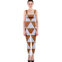 Triangle3 White Marble & Rusted Metal One Piece Catsuit