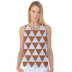 Triangle3 White Marble & Rusted Metal Women s Basketball Tank Top by trendistuff