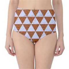 Triangle3 White Marble & Rusted Metal High Waist Bikini Bottoms by trendistuff