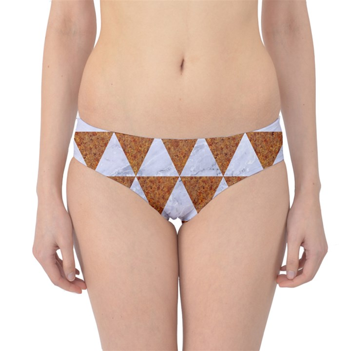 TRIANGLE3 WHITE MARBLE & RUSTED METAL Hipster Bikini Bottoms