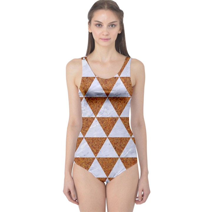 TRIANGLE3 WHITE MARBLE & RUSTED METAL One Piece Swimsuit