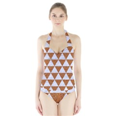 Triangle3 White Marble & Rusted Metal Halter Swimsuit by trendistuff