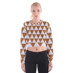 Triangle3 White Marble & Rusted Metal Cropped Sweatshirt by trendistuff