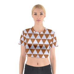 Triangle3 White Marble & Rusted Metal Cotton Crop Top by trendistuff