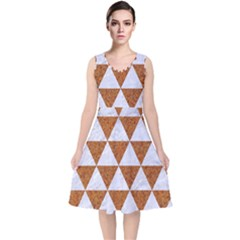 Triangle3 White Marble & Rusted Metal V Neck Midi Sleeveless Dress  by trendistuff