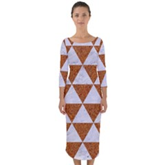 Triangle3 White Marble & Rusted Metal Quarter Sleeve Midi Bodycon Dress by trendistuff