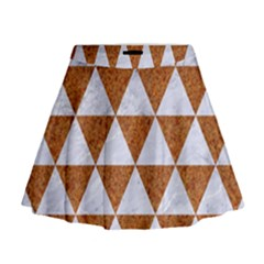 Triangle3 White Marble & Rusted Metal Mini Flare Skirt