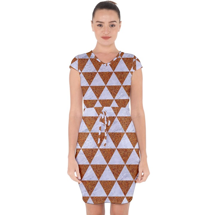 TRIANGLE3 WHITE MARBLE & RUSTED METAL Capsleeve Drawstring Dress