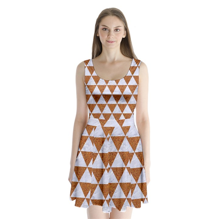 TRIANGLE3 WHITE MARBLE & RUSTED METAL Split Back Mini Dress