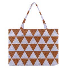 Triangle3 White Marble & Rusted Metal Zipper Medium Tote Bag by trendistuff
