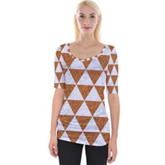 Triangle3 White Marble & Rusted Metal Wide Neckline Tee by trendistuff