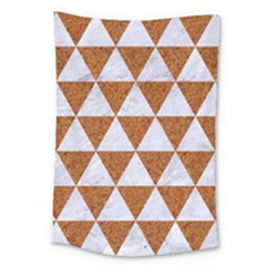 Triangle3 White Marble & Rusted Metal Large Tapestry by trendistuff