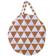 Triangle3 White Marble & Rusted Metal Giant Round Zipper Tote by trendistuff