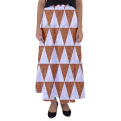 Triangle3 White Marble & Rusted Metal Flared Maxi Skirt by trendistuff